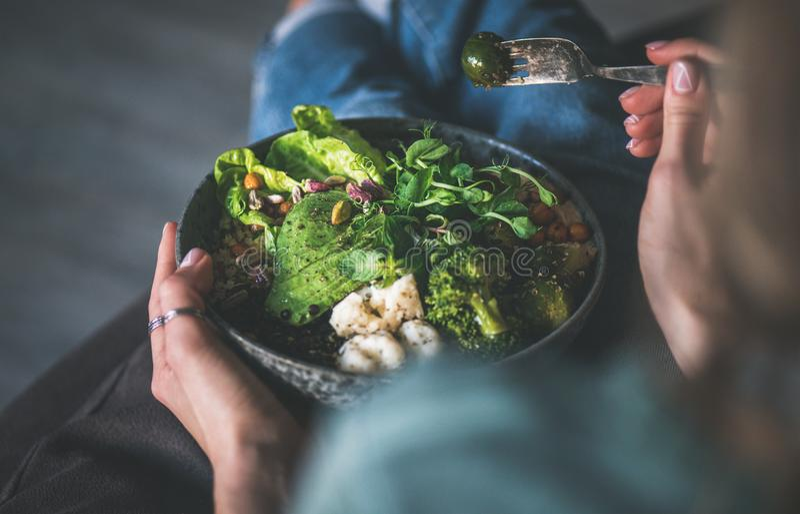 Gesundes superbowl des strengen Vegetariers in den Händen der Frau zu Hause stockbild