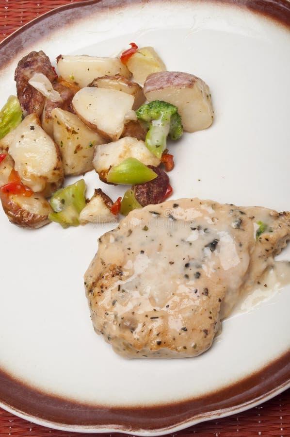 Gesundes Teil-Huhn-Abendessen lizenzfreie stockfotografie