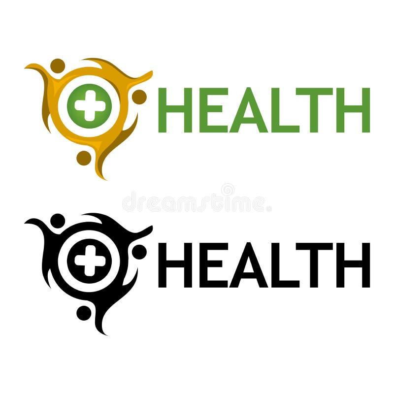 Gesundheit mit Völkerikone Flache Vektorillustration auf weißem Hintergrund lizenzfreie abbildung
