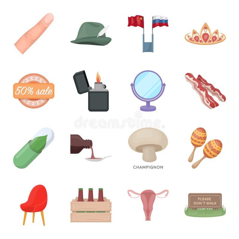 Gesundheit, Schönheit, Lebensmittel und andere Netzikone in der Karikaturart Jagd, Unterhaltung, Service-Ikonen in der Satzsammlu vektor abbildung