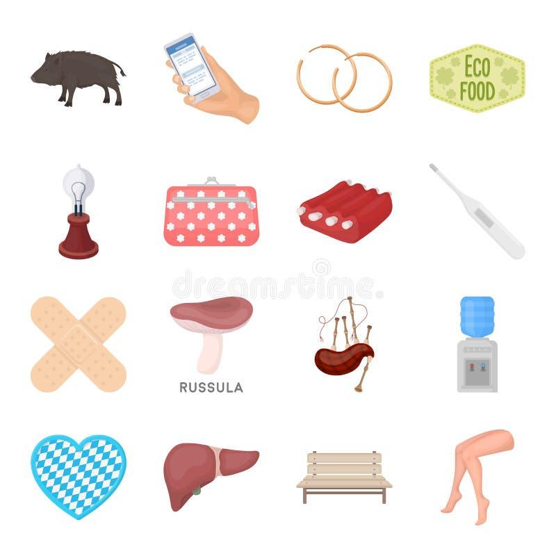 Gesundheit, Schönheit, Lebensmittel und andere Netzikone in der Karikaturart Jagd, Unterhaltung, Service-Ikonen in der Satzsammlu stock abbildung