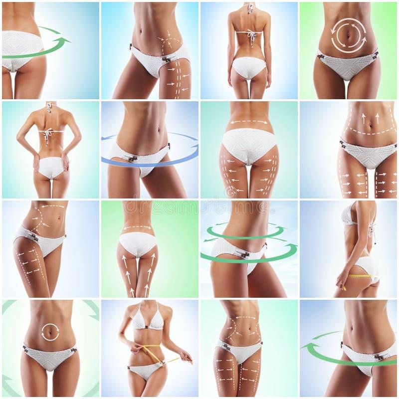 Gesundheit, Sport, Eignung, Nahrung, Gewichtsverlust, Diät, Celluliteabbau, Fettabsaugung, gesundes Lebensstilkonzept lizenzfreie stockfotos
