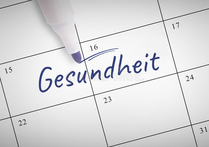 Gesundheit tekst pisać na kalendarzu z markierem obraz stock