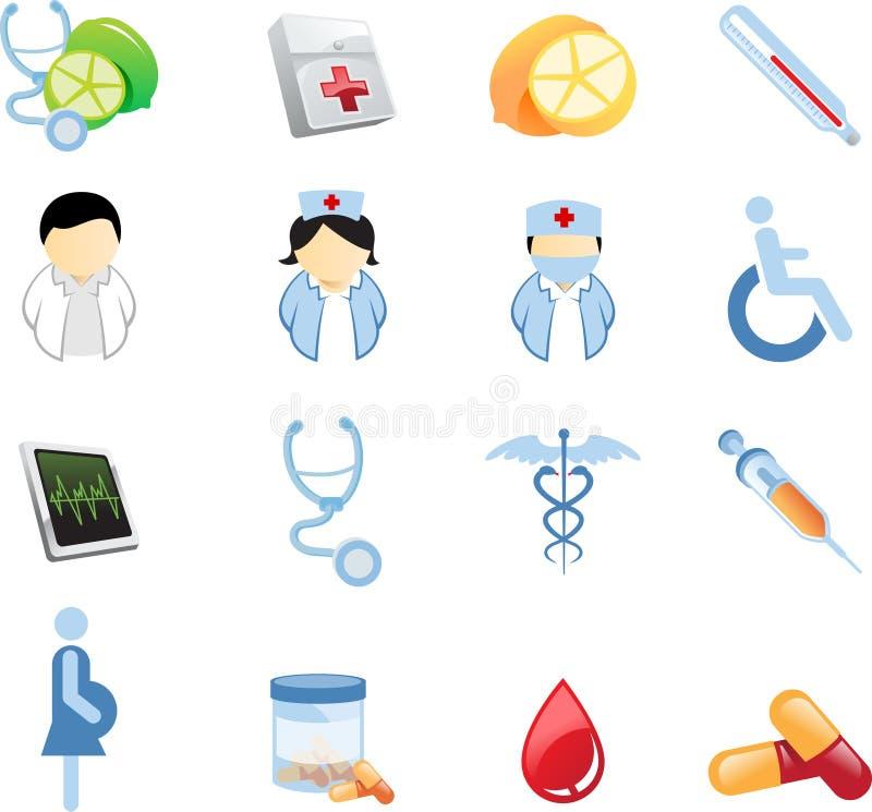 Gesundheit und Nutricion Ikonen lizenzfreie abbildung