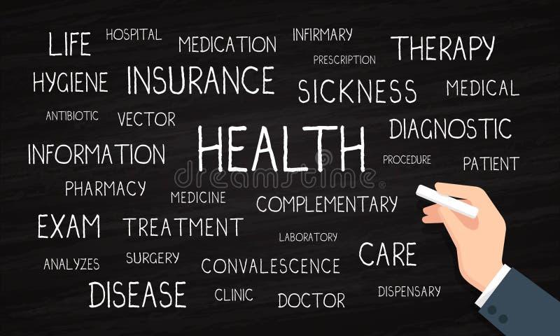 Gesundheit, Versicherung, Sorgfalt - Wortwolke - Kreide und Tafel vektor abbildung