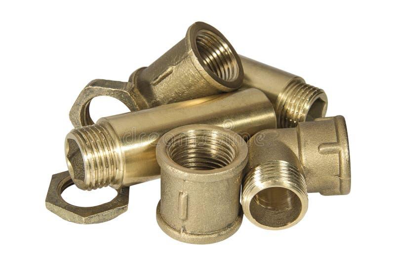 Gesundheitliche Messinginstallationen und Zubehör für Wasserleitungen lizenzfreies stockbild