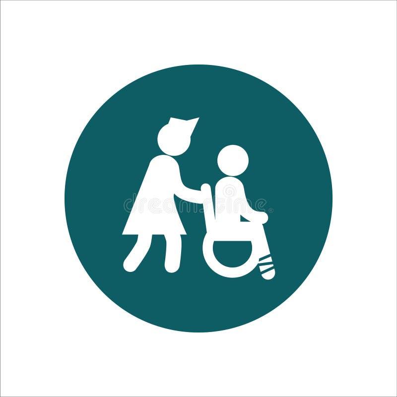 Gesundheits-Ikonen-Vektor Ilustration die Krankenschwester drückte den Rollstuhl vektor abbildung