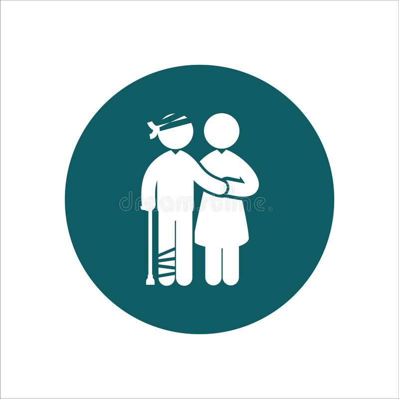 Gesundheits-Ikonen-Vektor Ilustrations-Leute-Kranker mit Krankenschwester vektor abbildung