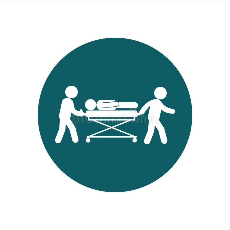 Gesundheits-Ikonen-Vektor Ilustrationthe-Krankenschwester trägt den Patienten stock abbildung