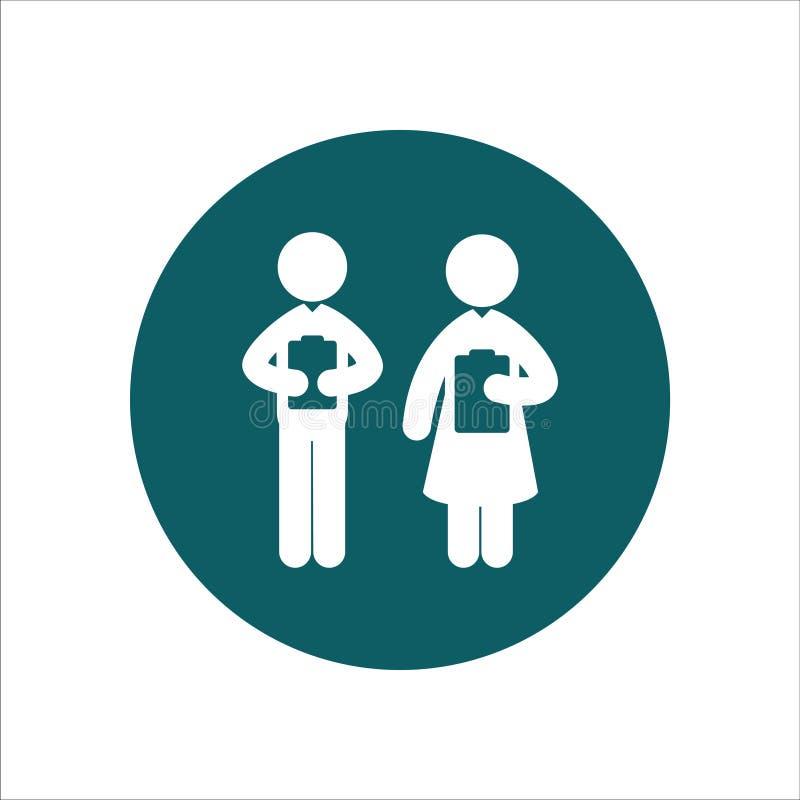 Gesundheits-Ikonen-Vektor Ilustrationthe-Mann und weibliche Krankenschwester lizenzfreie abbildung