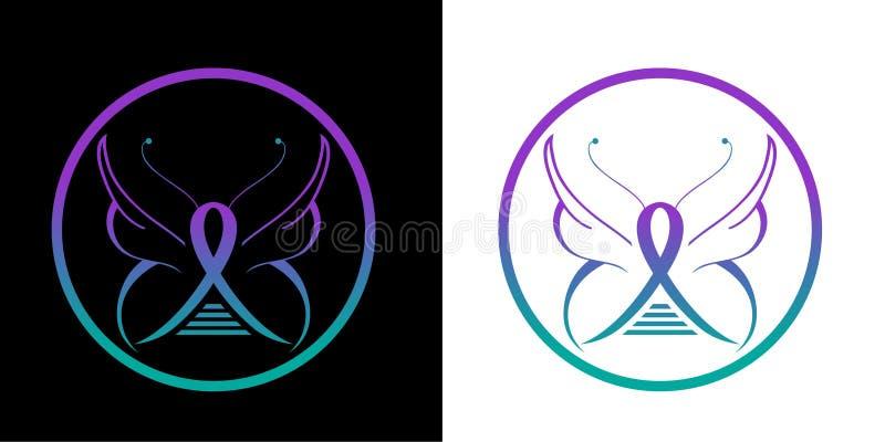 Gesundheits-und Wellness-Studio-Vektor-Logoschmetterlingsikone lizenzfreie abbildung