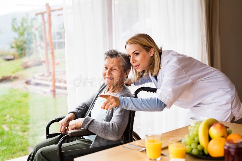 Gesundheitsbesucher und eine ältere Frau während des Hausbesuchs stockbild