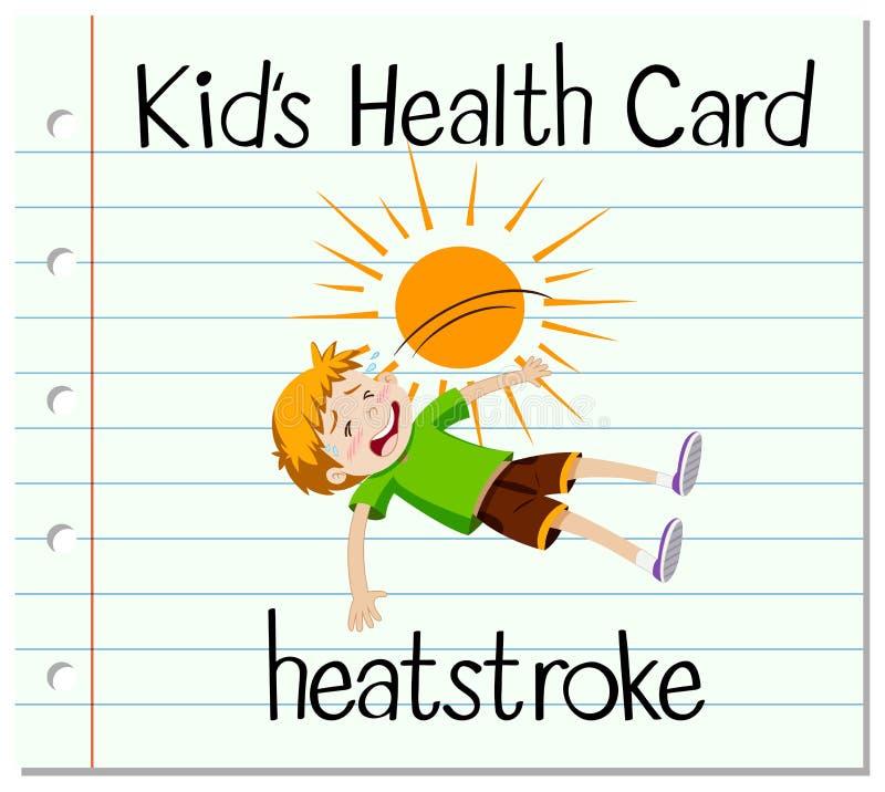 Gesundheitskarte mit dem Jungen, der Hitzeschlag hat stock abbildung