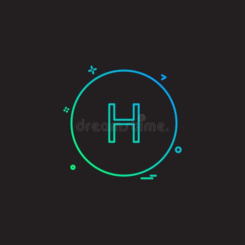 Gesundheitskrankenhausalphabet-hzeichen-hikonen-Vektorentwurf stock abbildung