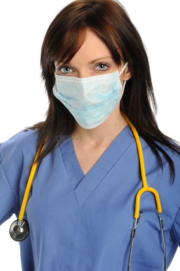 Gesundheitspflege-Fachmann mit Schablone stockbild