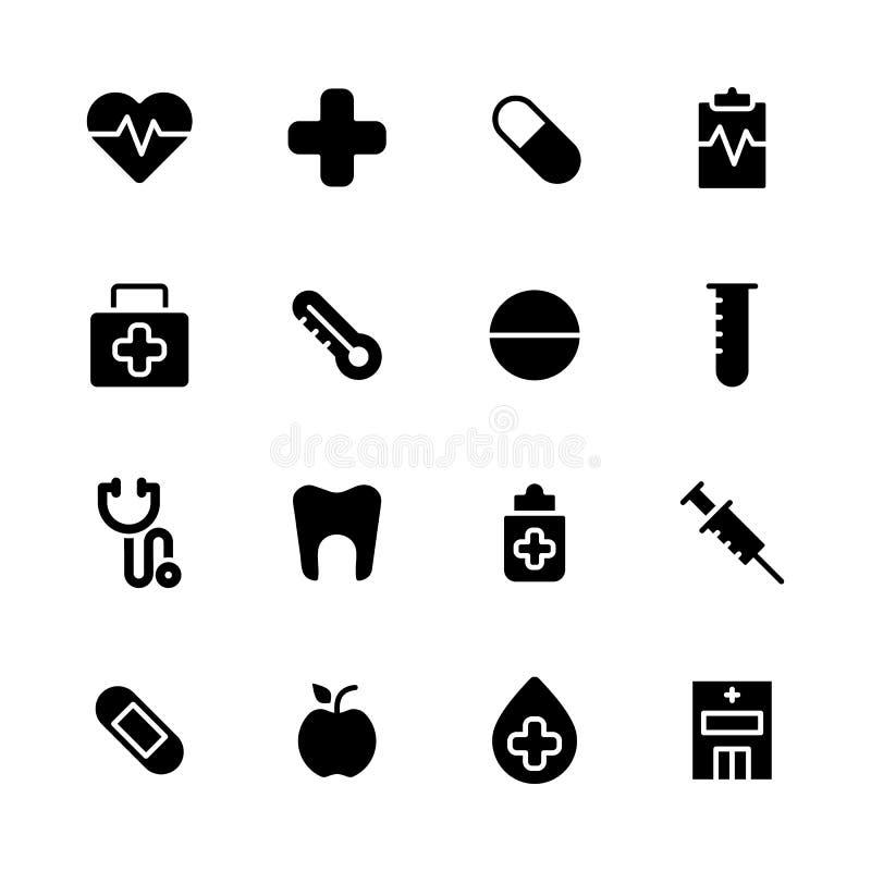 Gesundheitspflege und medizinisches Ikonen-Set vektor abbildung