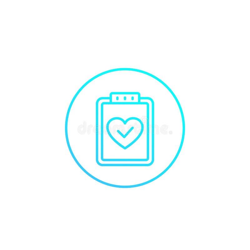 Gesundheitstest, Ikone des medizinischen Planes auf weißem, linear lizenzfreie abbildung