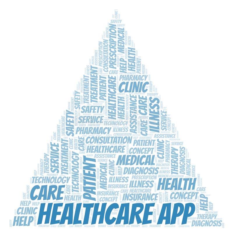 Gesundheitswesen App-Wortwolke stock abbildung