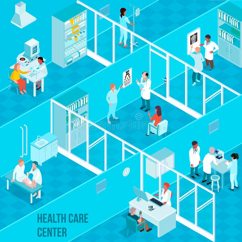 Gesundheitswesen-isometrische Mittelillustration lizenzfreie abbildung