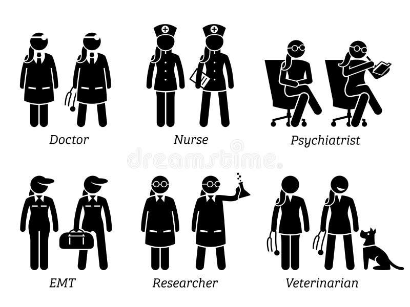 Gesundheitswesen-Jobs, Arbeiten und Besetzungen für Frauen stock abbildung