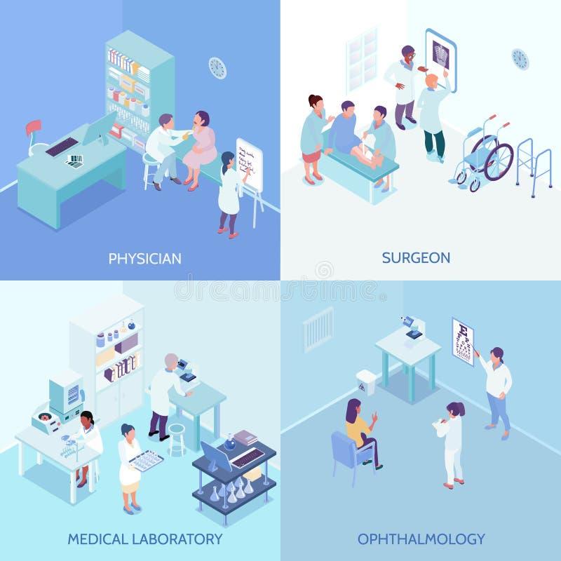 Gesundheitswesen-Mittel-2x2 Konzept des Entwurfes vektor abbildung
