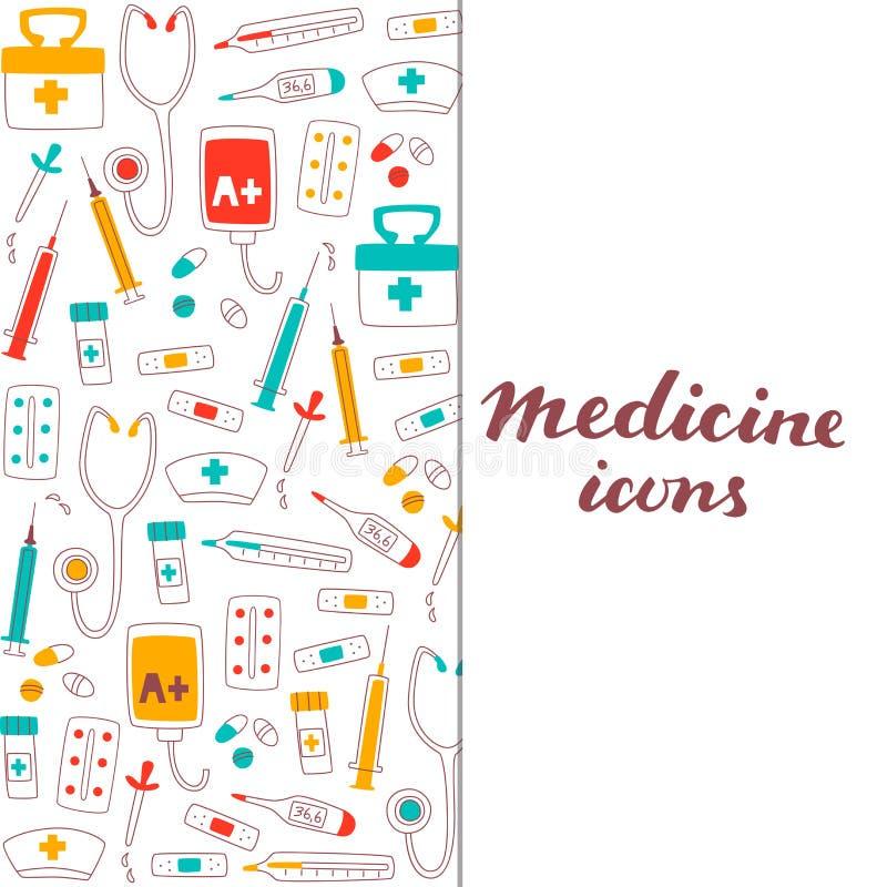 Gesundheitswesen-und Medizin-Satz Hand gezeichnete Gekritzel-Einzelteile lizenzfreie abbildung