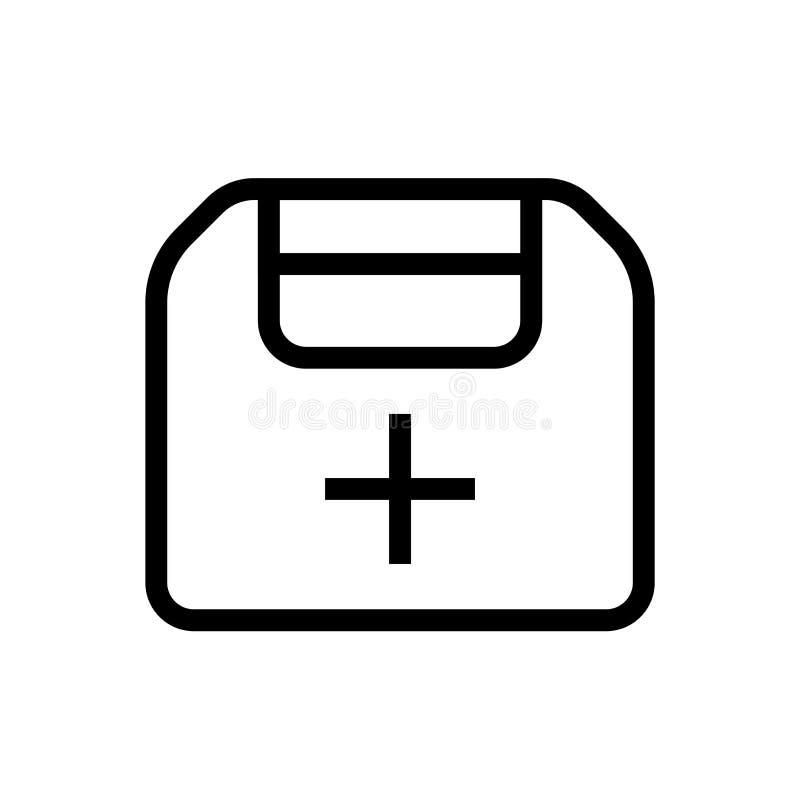 Gesundheitswesenkasten-Ikonenentwurf der ersten Hilfe Linie medizinische Illustration der Kunst stock abbildung