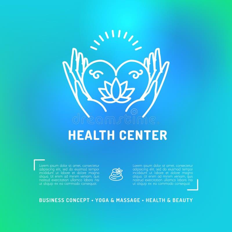 Gesundheitszentrum-Gesundheits-Karte, Fliegerschönheitssalon, Badekurortmassagestudio stock abbildung
