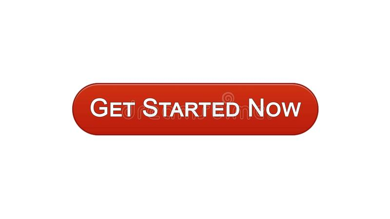 Get ahora comenzó el vino del botón del interfaz del web color rojo, estrategia empresarial, Internet ilustración del vector