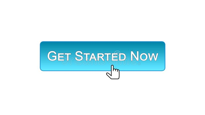 Get ahora encendió el botón del interfaz del web hecho clic con el cursor del ratón, color azul stock de ilustración