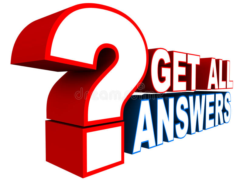 Get all answers. For your questions concept, words against white background royalty free illustration