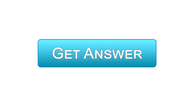 Get answer web interface button blue color, online consultation, site design. Stock footage stock illustration