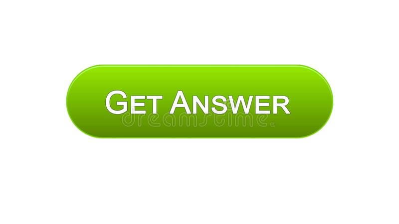 Get answer web interface button green color, online consultation, site design. Stock footage royalty free illustration