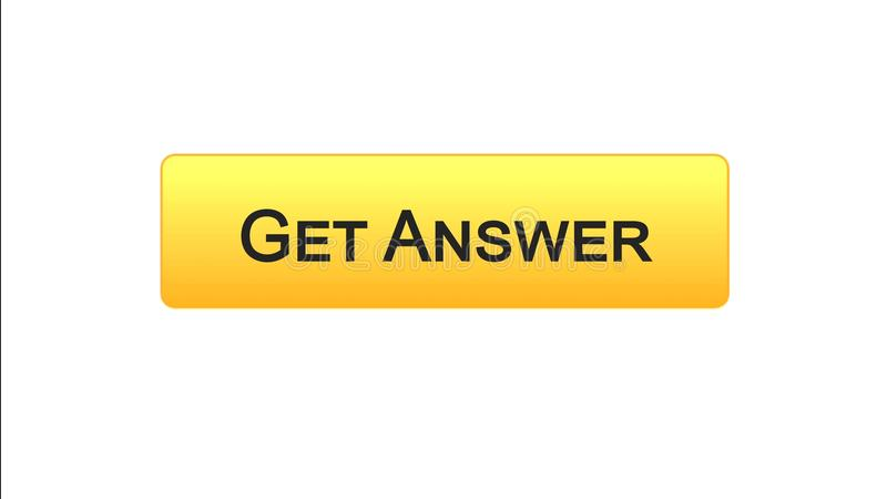 Get answer web interface button orange color, online consultation, site design. Stock footage royalty free illustration