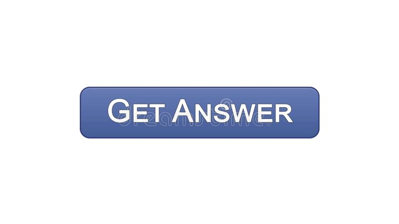 Get answer web interface button violet color, online consultation, site design. Stock footage royalty free illustration