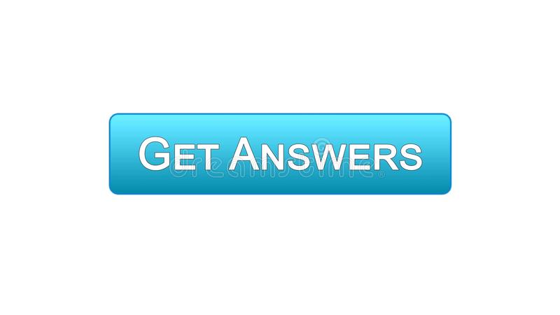 Get answers web interface button blue color, online consultation, site design. Stock footage royalty free illustration