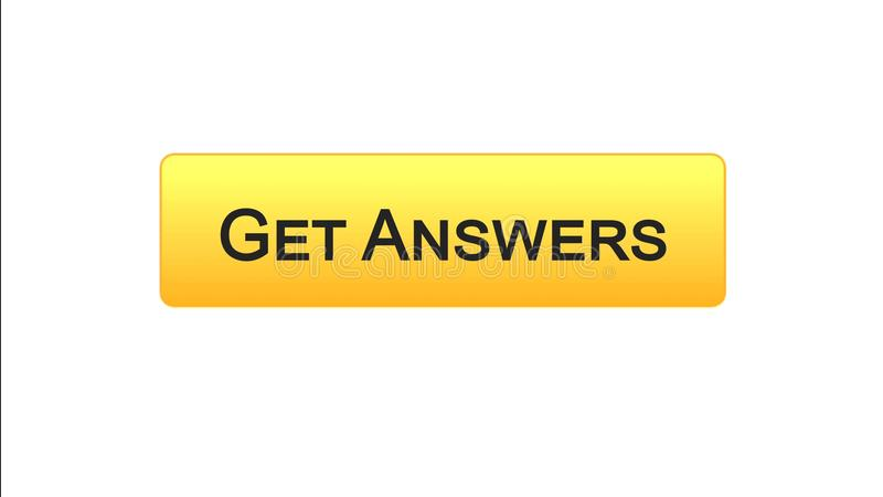 Get answers web interface button orange color, online consultation, site design. Stock footage stock illustration