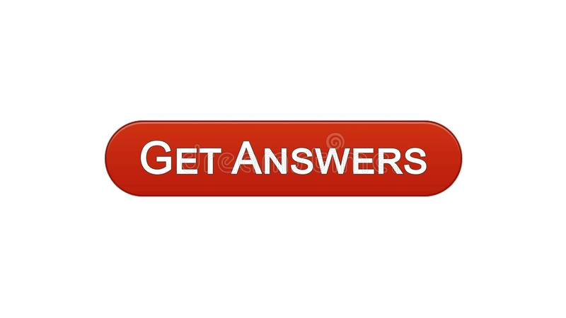 Get answers web interface button wine red color, online consultation site design. Stock footage vector illustration