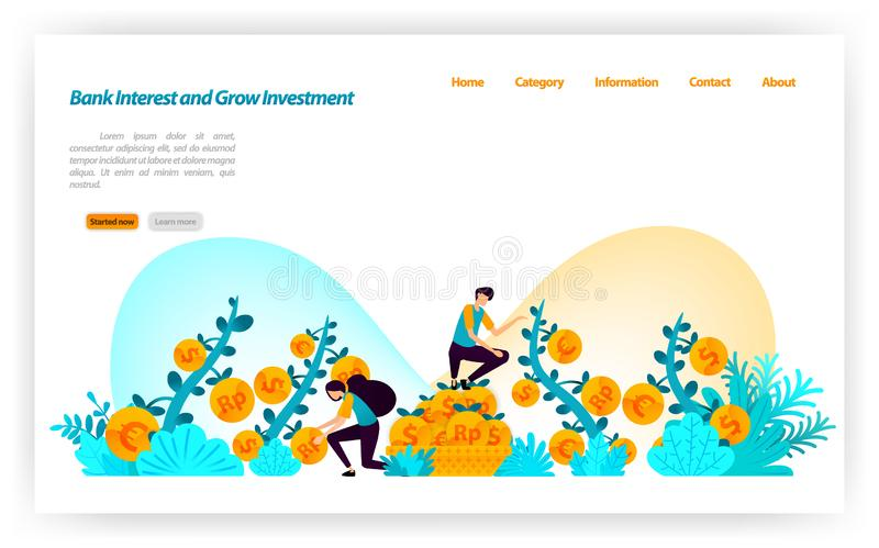 Get best bank interest rate and grow financial investment from various currencies dollar,euro,rupiah. vector illustration concept. For landing page, ui ux, web royalty free illustration