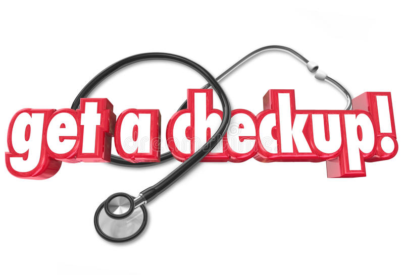Get a Checkup Doctor Appointment Physical Health Evaluation. Get a Checkup words and stethoscope to illustrate the need to get regular physical examinations from royalty free illustration