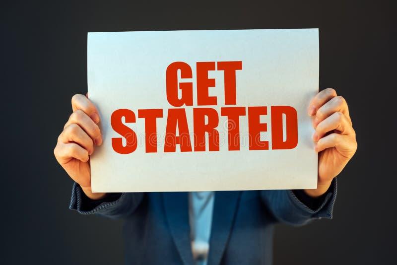 Get começou o negócio mensagem inspirador fotos de stock
