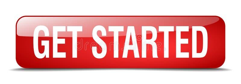 Get começou o quadrado vermelho 3d botão isolado realístico ilustração stock
