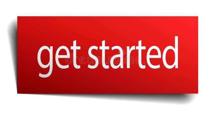 Get começou o sinal de papel isolado do quadrado vermelho ilustração stock