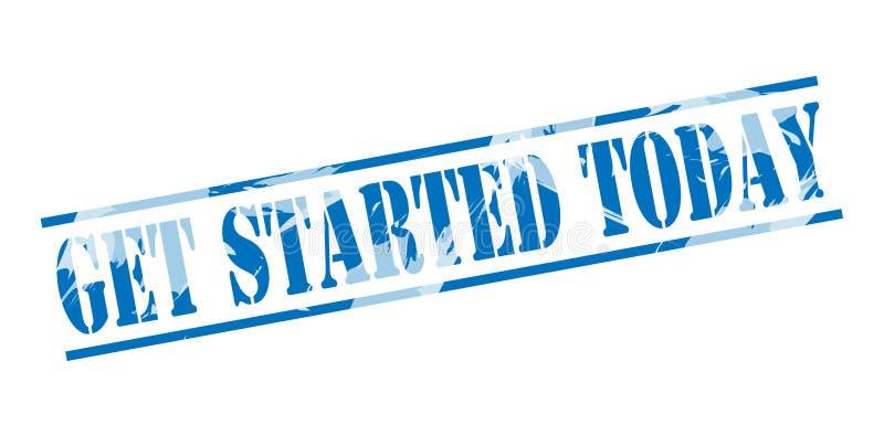 Get a commencé aujourd'hui le timbre bleu illustration stock