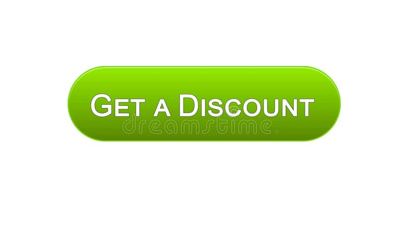 Get a discount web interface button green color, online shopping application. Stock footage stock illustration