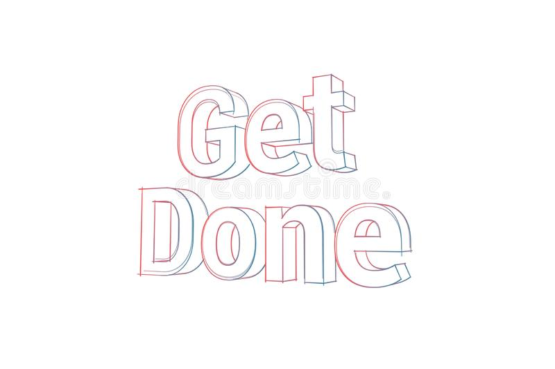 Get Done - 3D Text illustration - Words with colored lines tilde and orange on white. 3D - Three Dimensional Text illustration. Words with colored lines tilde vector illustration