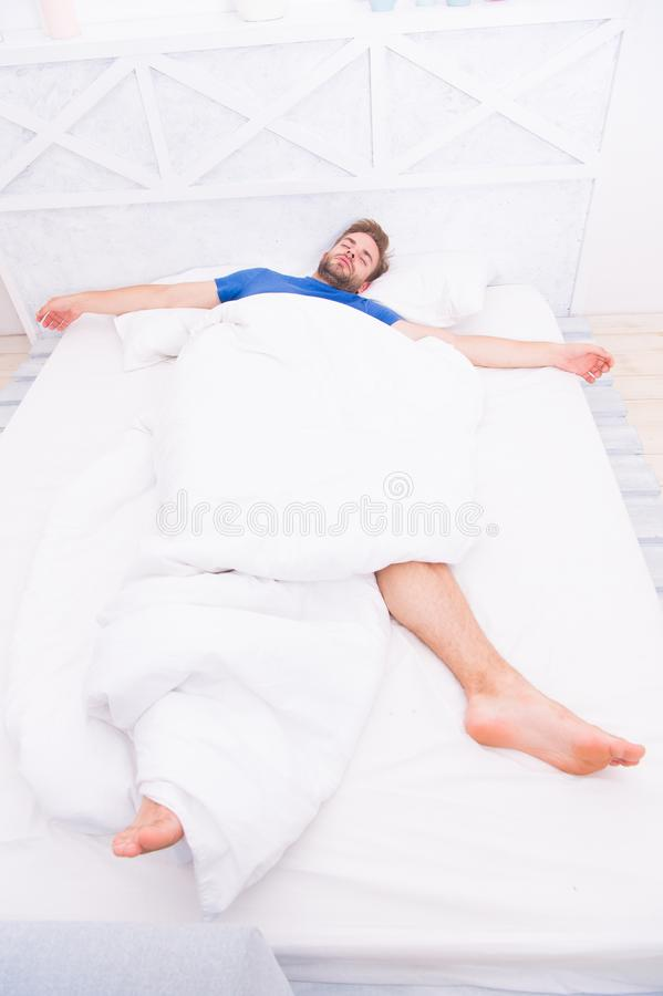 Get enough amount of sleep every night. Bearded man face relaxing. Maintaining consistent circadian rhythm essential for. General health. Man handsome guy stock photos