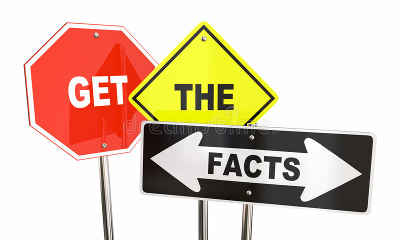 Get the Facts Road Street Signs. Direction Research Information 3d Illustration royalty free illustration
