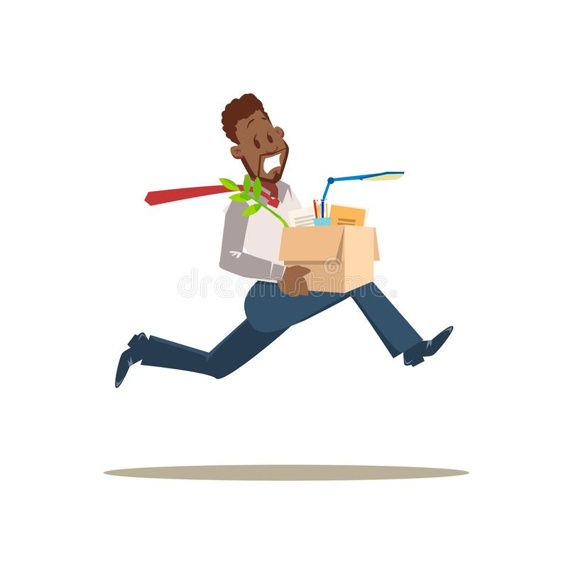 Get Fired. Scared Sad Worker Man Run from Office. Unhappy Employee Dismissed for Bad Work. Stressed Character in Formal Suit Hold Carton Box with Stuff. Flat vector illustration