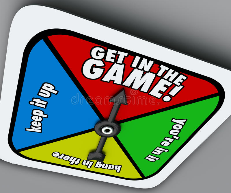 Get In The Game Spinner Compete Win Competition Take Chance stock illustration